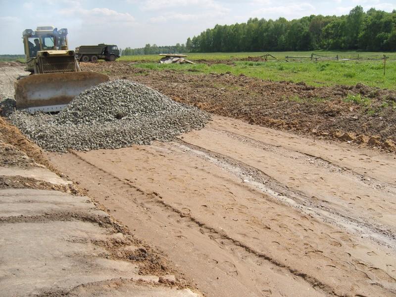Песчано-щебеночное основание под дорожное покрытие